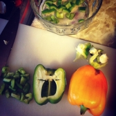 Prepping the peppers.