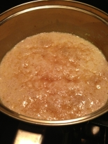 Wet ingredients with bloomed yeast.
